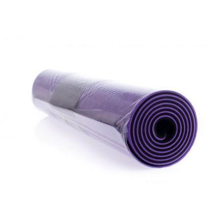 Protiskluzová podložka na jógu / cvičení, 2- vrstvá, fialová / černá, 183x61x0,6cm