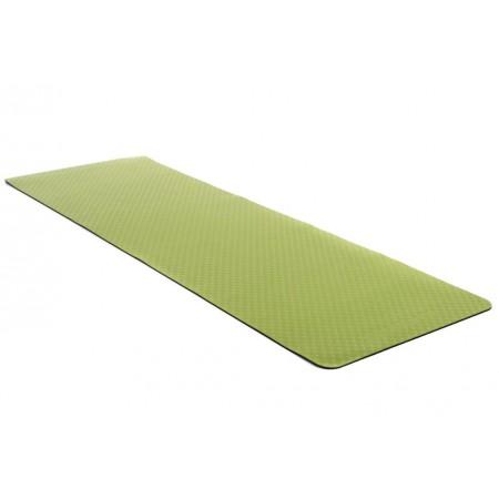 Protiskluzová podložka na jógu / cvičení, 2- vrstvá, zelená / černá, 183x61x0,4 cm
