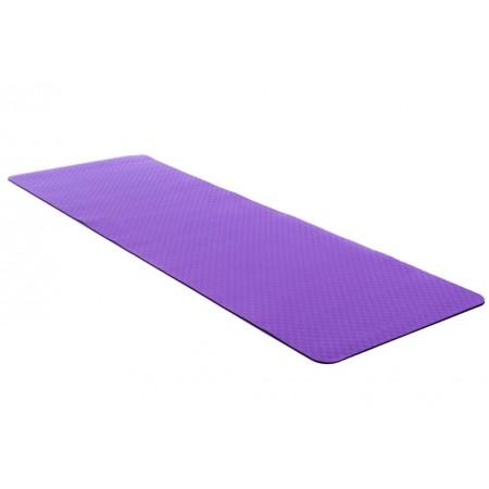 Protiskluzová podložka na jógu / cvičení, 2- vrstvá, fialová / černá, 183x61x0,4 cm