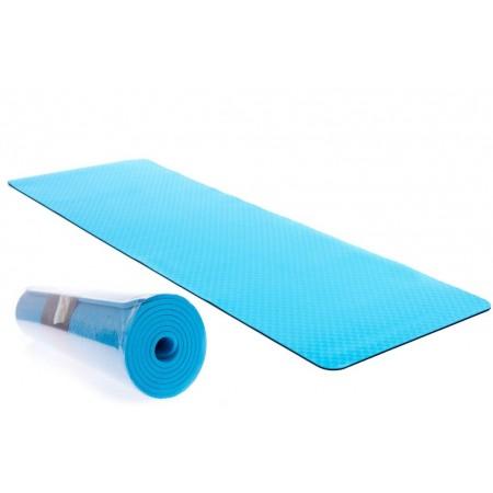 Protiskluzová podložka na jógu / cvičení, 2- vrstvá, modrá, 183x61x0,6cm