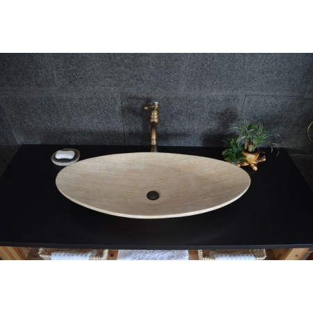 Designové mramorové umyvadlo oválné - béžové, 80x36 cm