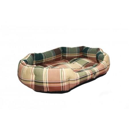Polstrovaný pelíšek pro psa s okrajem, hnědá kostka, 75x60 cm