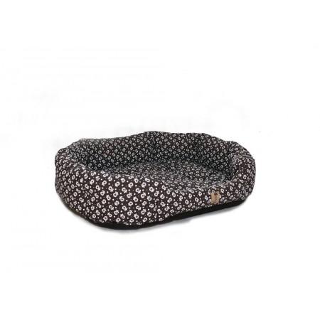Polstrovaný pelíšek pro psa s okrajem, hnědá + ornament, 75x60 cm
