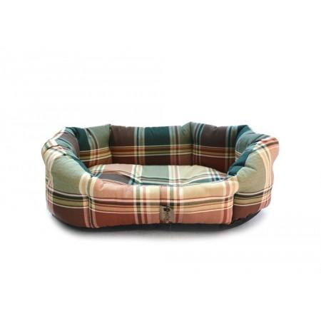 Polstrovaný pelíšek pro psa s okrajem, hnědá kostka, 50x40 cm
