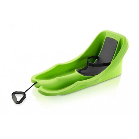 Dětské plastové boby s opěradlem, popruh pro upnutí, do 25 kg, zelené