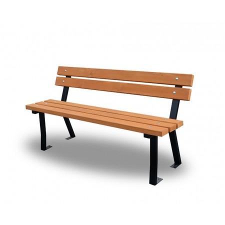 Pevná parková / zahradní lavička s opěradlem, ocel / dřevěné fošny, 150 cm