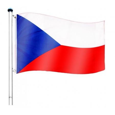 Vlajka ČR včetně stožáru, nastavitelná výška, k zabetonování, 6,5 m