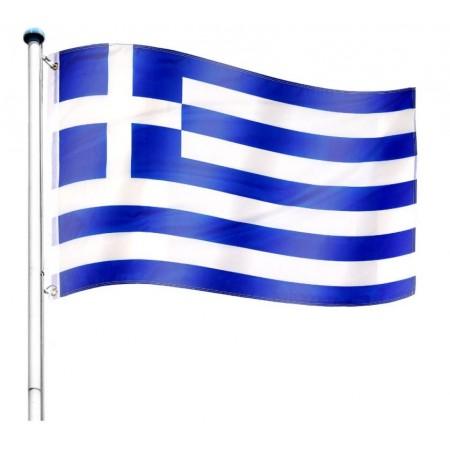 Vlajka Řecka včetně stožáru, nastavitelná výška, k zabetonování, 6,5 m