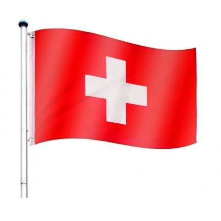 Vlajka Švýcarska včetně stožáru, nastavitelná výška, k zabetonování, 6,5 m