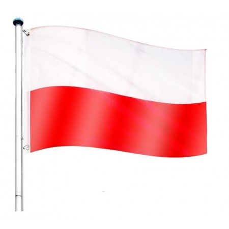 Vlajka Polska včetně stožáru, nastavitelná výška, k zabetonování, 6,5 m