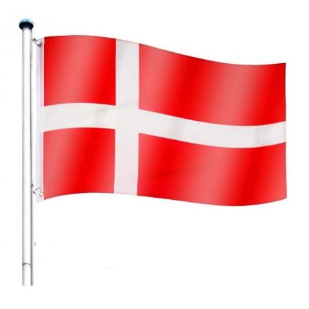 Vlajka Dánska včetně stožáru, nastavitelná výška, k zabetonování, 6,5 m