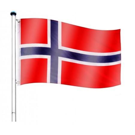Vlajka Norska včetně stožáru, nastavitelná výška, k zabetonování, 6,5 m