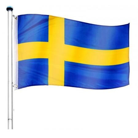 Vlajka Švédska včetně stožáru, nastavitelná výška, k zabetonování, 6,5 m