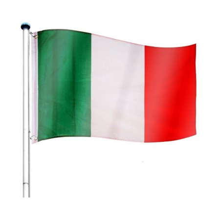Vlajka Itálie včetně stožáru, nastavitelná výška, k zabetonování, 6,5 m