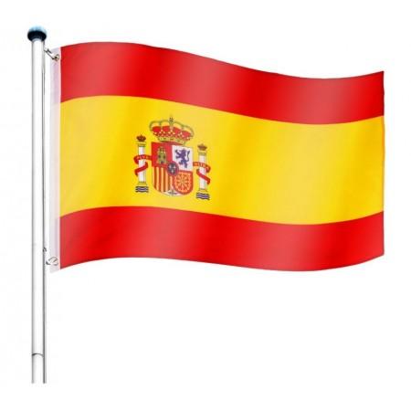 Vlajka Španělska včetně stožáru, nastavitelná výška, k zabetonování, 6,5 m