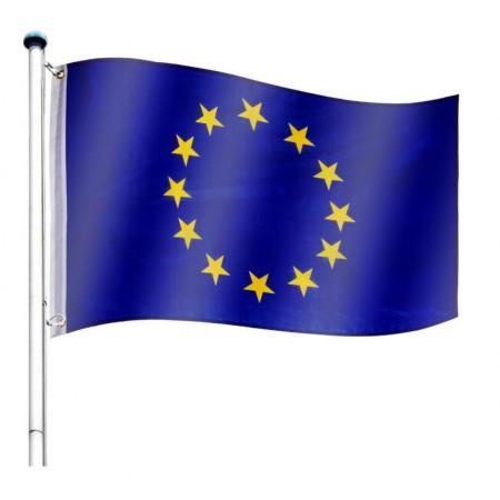 Vlajka EU včetně stožáru, nastavitelná výška, k zabetonování, 6,5 m