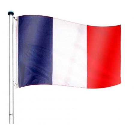 Vlajka Francie včetně stožáru, nastavitelná výška, k zabetonování, 6,5 m