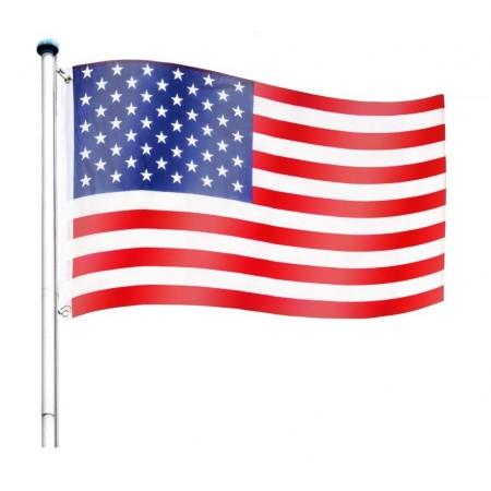 Vlajka USA včetně stožáru, nastavitelná výška, k zabetonování, 6,5 m