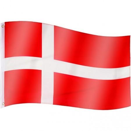 Vlajka Dánska textilní (75 D polyester), s úchyty, 120x80 cm