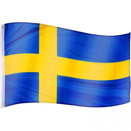Vlajka Švédska textilní (75 D polyester), s úchyty, 120x80 cm