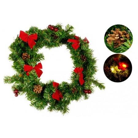 Vánoční věnec s červenými mašlemi, svítící, 20 LED diod