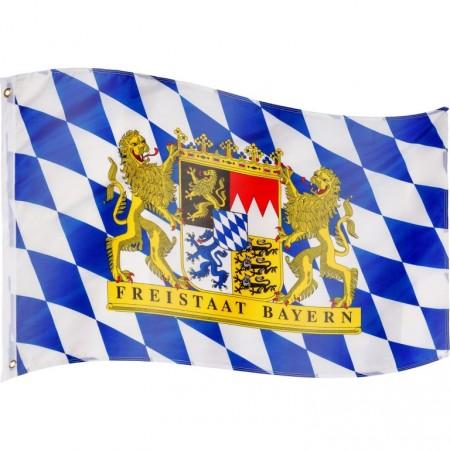 Vlajka Bavorska textilní (75 D polyester), s úchyty, 120x80 cm