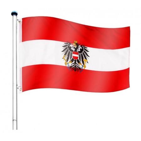 Vlajka Rakouska včetně stožáru, nastavitelná výška, k zabetonování, 6,5 m