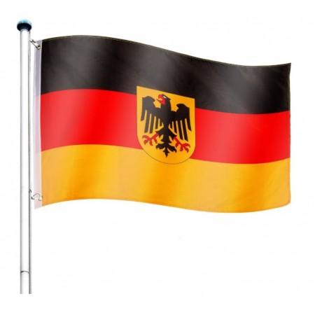 Vlajka Německa včetně stožáru, nastavitelná výška, k zabetonování, 6,5 m