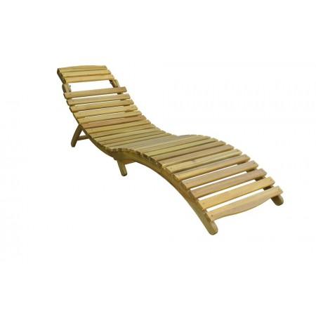 Anatomické dřevěné lehátko k bazénu / na terasu, akácie, nosnost 120 kg