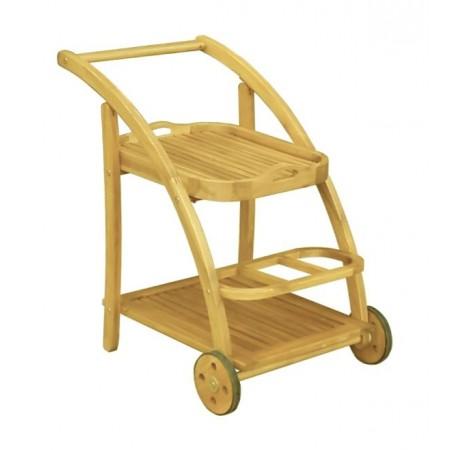 Servírovací stolek s kolečky, masivní dřevo akácie, zahrada / interiér