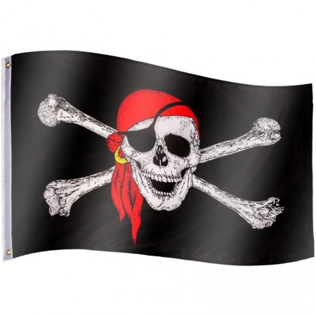 Pirátská vlajka textilní (75 D polyester), s úchyty, 120x80 cm