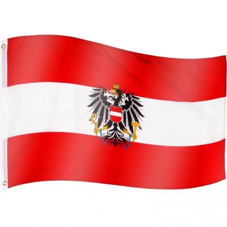 Vlajka Rakouska textilní (75 D polyester), s úchyty, 120x80 cm
