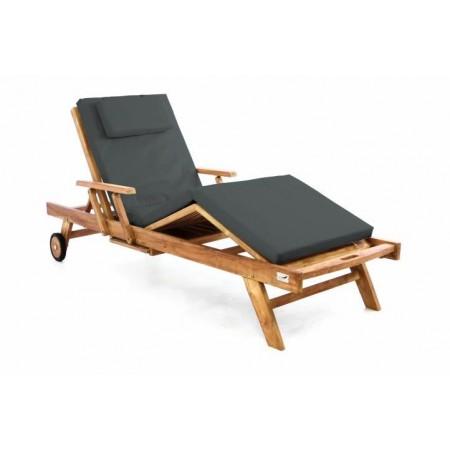 Luxusní teakové lehátko k bazénu / na terasu, vč. polstru, antracit