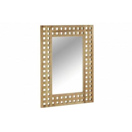 Designové zrcadlo na stěnu s dřevěným rámem, 70 x 50 cm