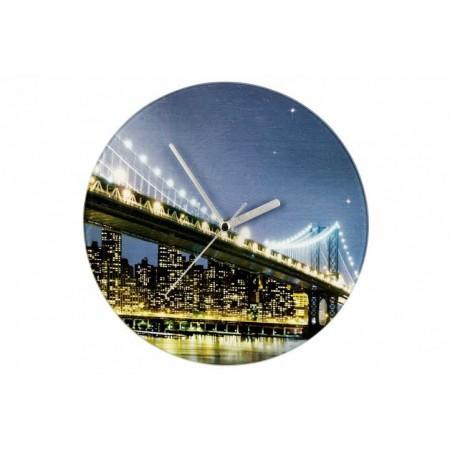 Designové nástěnné hodiny s fotografií- Brooklynský most, průměr 27 cm