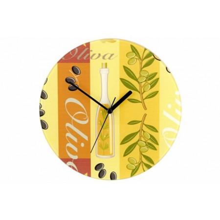 Designové nástěnné hodiny s obrázkem- olivový olej, průměr 27 cm