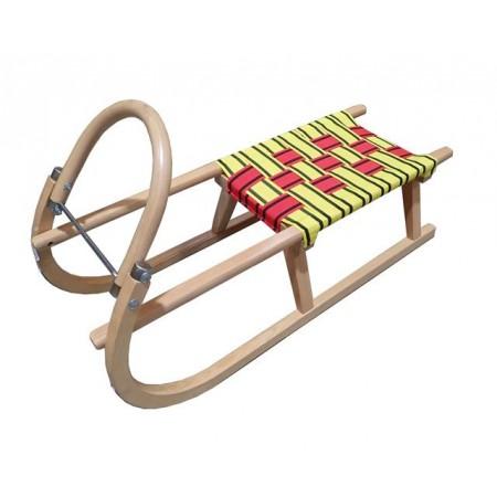 Dřevěné sáňky pro děti, kovové lyžiny + textilní sedlo, nosnost 60 kg, 95 cm