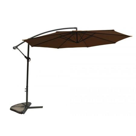 Slunečník s boční konstrukcí, nastavitelný, ruční klika, vč. stojanu, hnědý, 3,5 m