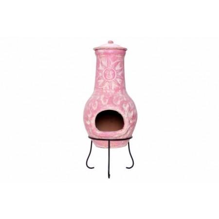 Venkovní designový terakotový krb na zahradu / pod pergolu, bílá / růžová, 80 cm