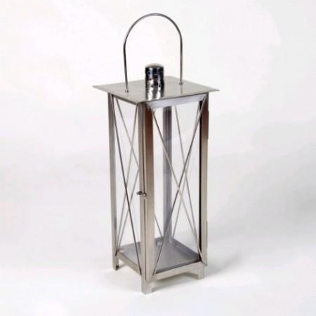 Nerezová okrasná lucerna na svíčku 55 cm