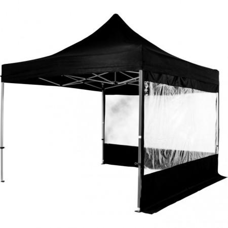 Nůžkový skládací párty stan 3x3 m, velká okna, 2 stěny, černá