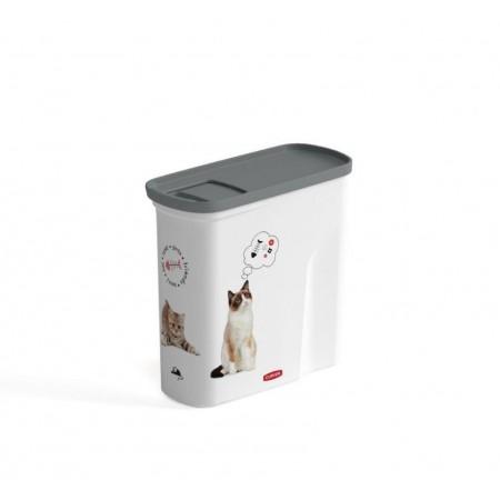 Uzaviratelný box na granule pro kočky, bílá / šedá + potisk, 2L