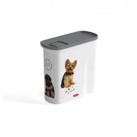 Uzaviratelný box na granule pro psy, bílá / šedá + potisk, 2L