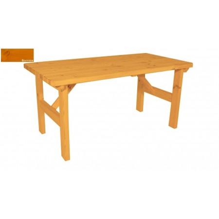 Masivní dřevěný zahradní stůl obdélníkový, povrchová úprava- odstín borovice, 160x81cm