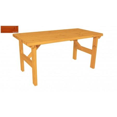 Masivní dřevěný zahradní stůl obdélníkový, povrchová úprava- odstín veverka, 160x81cm
