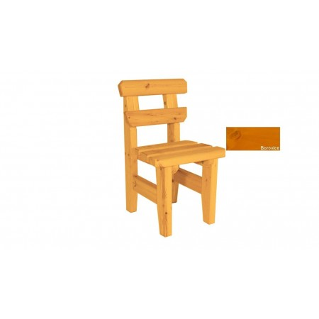 Pevná venkovní židle z masivního dřeva, selký styl, povrchová úprava borovice