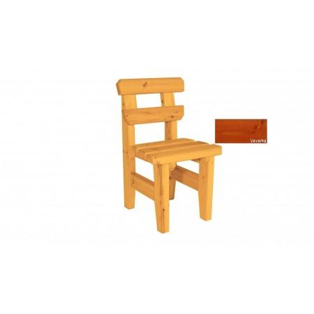 Pevná venkovní židle z masivního dřeva, selký styl, povrchová úprava veverka