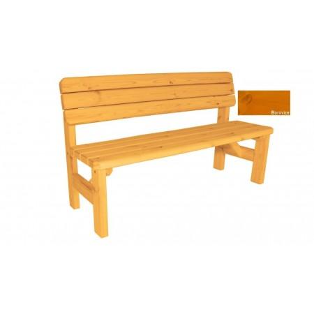 Zahradní dřevěná lavice s opěradlem Darina - s povrchovou úpravou - 150 cm - BOROVICE