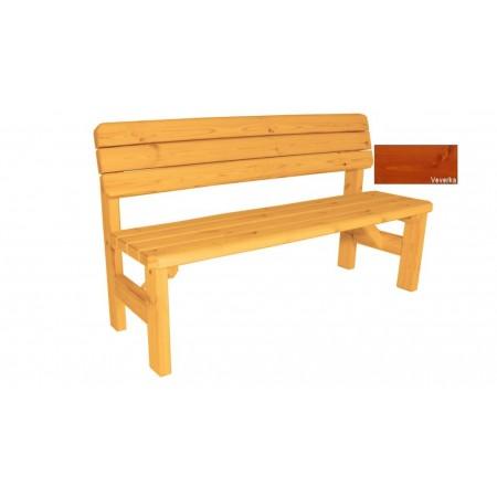 Zahradní dřevěná lavice s opěradlem Darina - s povrchovou úpravou - 150 cm - VEVERKA