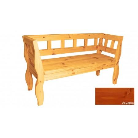 Ozdobná retro lavice z masivního dřeva, selký vzhled, úprava veverka, 157 cm